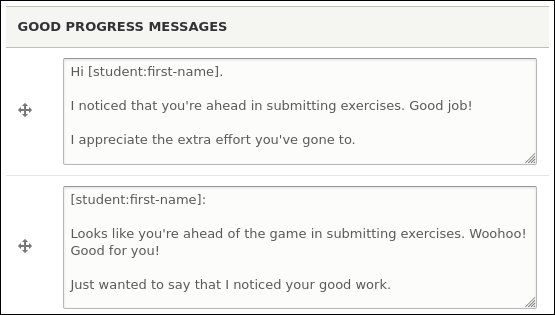 Good progress messages