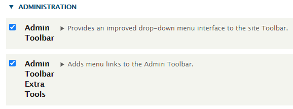 Activate the admin toolbar
