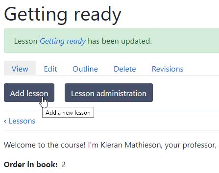 Add lesson button