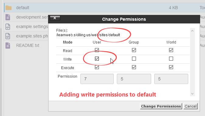 Add write permission to default