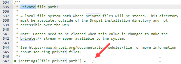 Changing private file path