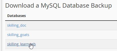 Choose database to backup