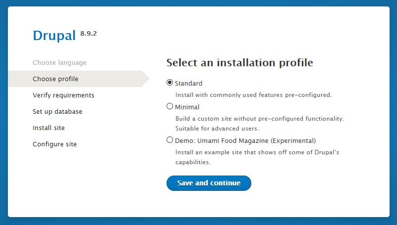 Choose the installation profile