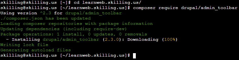 Composer command to install the admin toolbar module