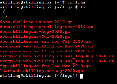 Contents of the logs folder