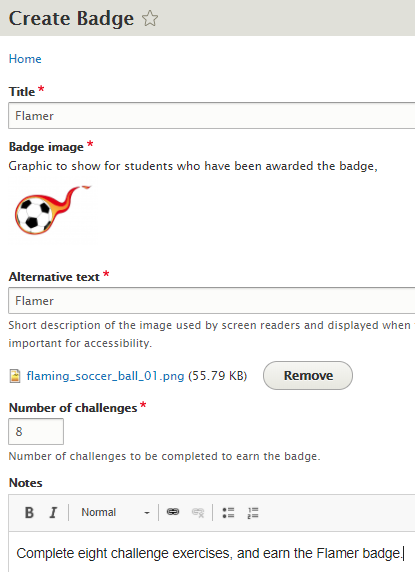 Creating a badge