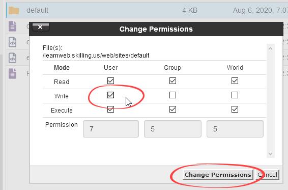 Grant write permissions to User