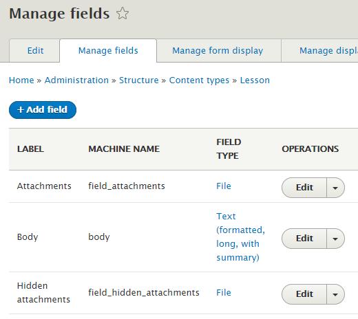 Lesson field list