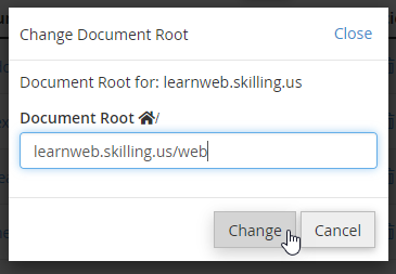 Modify subdomain root 2