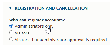 Only admins can create accounts