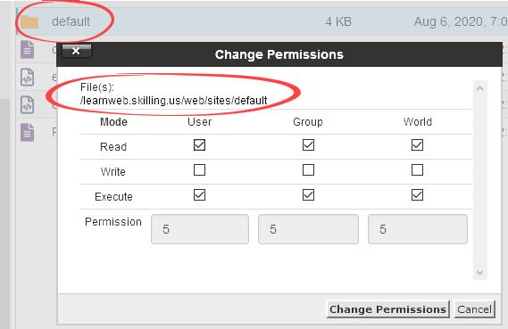 Permissions for the default folder