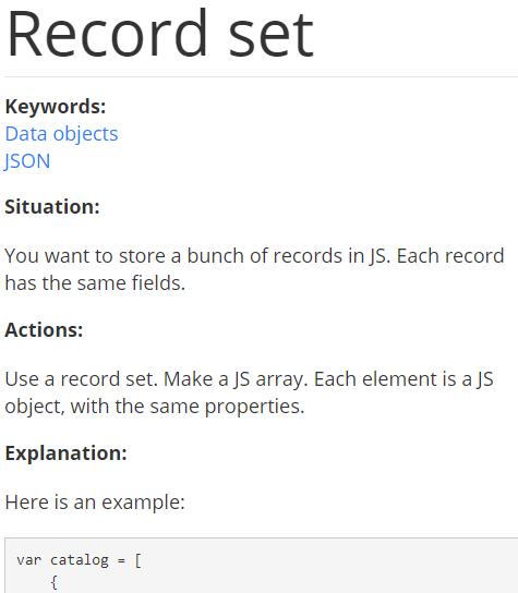 Record set pattern