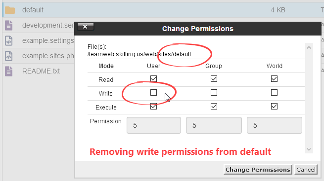 Remove write permission from default