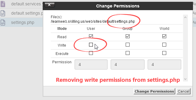 Remove write permission from settings.php