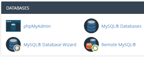 cPanel database functions