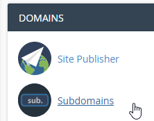 Getting to subdomains in cPanel