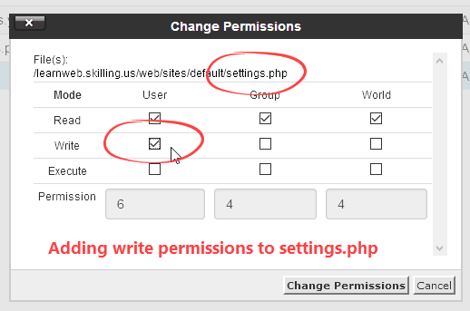 Add write permission to settings.php